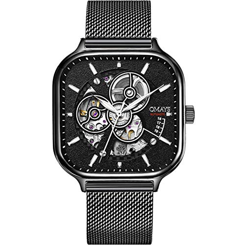 Miwaimao Marca Suiza Genuina Totalmente Automático Reloj Mecánico Hombres Hueco Cuadrado Reloj Masculino Richard Tendencia