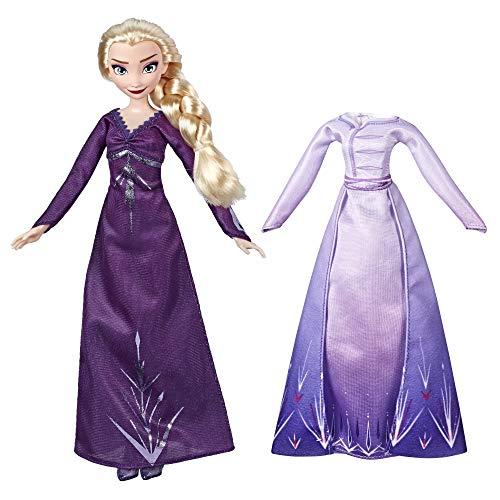 Disney Die Eiskönigin Arendelle Kleidertraum ELSA Modepuppe mit 2 Outfits, lilafarbenes Nachthemd und Kleid, inspiriert durch den Film Die Eiskönigin 2 – Spielzeug für Kinder ab 3 Jahren