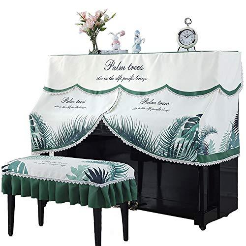 Jklt Piano Cover Rechtopstaande Piano Volledige Cover Kant Palm Tree Patroon Stofdichte Beschermende Doek Cover Versierd Met Bench Cover Muziek Instrument Bescherming Uitstekende Voel en Textuur