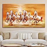 Impresión de animales artísticos siete caballos blancos corriendo pintura al óleo sobre lienzo pintura de pared moderna de gran tamaño para Cuadros de sala de estar 60x120 CM (sin marco)