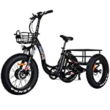 Addmotor Motan Electric Trike Adult Tricycle, 750W 22MPH 3 Fat Wheel Trike Electric for Seniors, 48V 16Ah Removable Battery, 20' Electric Bike with Pedals, M-330 P7 Electric Bicycle with Big Basket