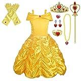 Lito Angels Vestido de Princesa Bella con Accesorios para Niñas Disfraz la Bella y la Bestia de Carnaval Fiesta Cumpleaños Halloween Festival Talla 5-6 Años 077