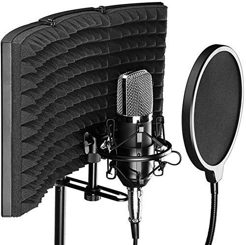 Escudo de aislamiento de micrófono profesional, filtro pop, micrófono de estudio reflector...