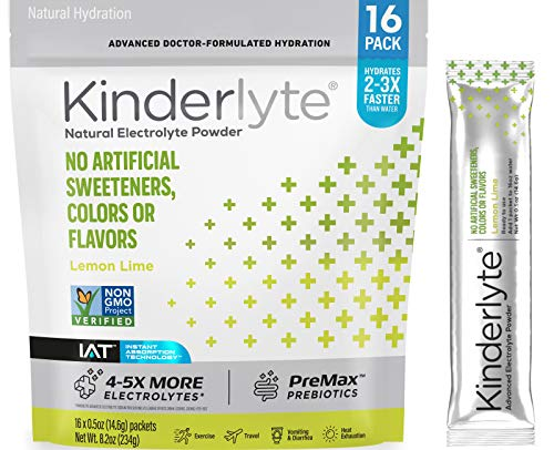Price comparison product image Kinderlyte Electrolyte Powder,  Advanced Hydration,  Easy Open Packets,  Supplement Drink Mix (Lemon Lime,  16 Count)