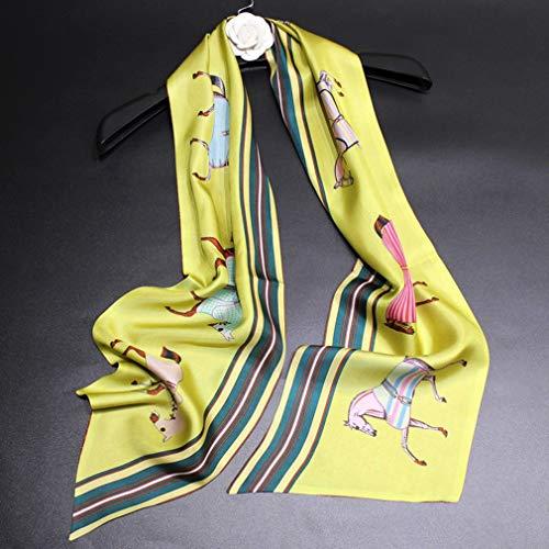 Dames Zijden sjaal Dames 100% zijde Sjaals Ros Paard Afdrukken Klassiek Mode Zacht Zijdezacht Glad Lange sjaals voor Party Meisje Verjaardagscadeau, 160 x 20 cm,Yellow