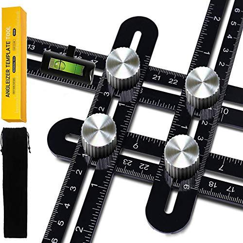 Angle Vorlage Werkzeug, Dr.meter Präzises Winkellineal-Vorlagenwerkzeug Lineal mit Wasserwaage, Premium-Aluminiumlegierungs-Winkelmesser, Layoutwerkzeug mit Lasergravur für Handwerker, Schreiner