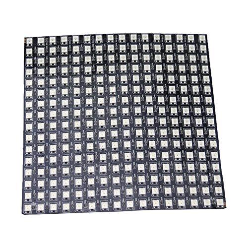 Rextin WS2812B Panel de tira LED digital flexible de 8 x 32 256 pixeles direccionable individualmente, iluminación que cambia de color DC5V, FPCB, 16x16 pixels