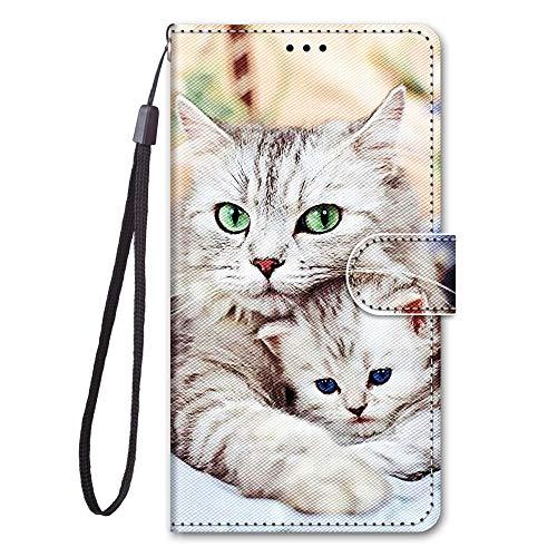 Nodigo für Samsung Galaxy S8 Leder Hülle Magnetisch Kickstand mit Kartenfach 360 Grad Tier Muster Motiv Lustig Design Silikon Hüllen Handyhülle Wallet Tasche Case Mädchen Damen - Katze