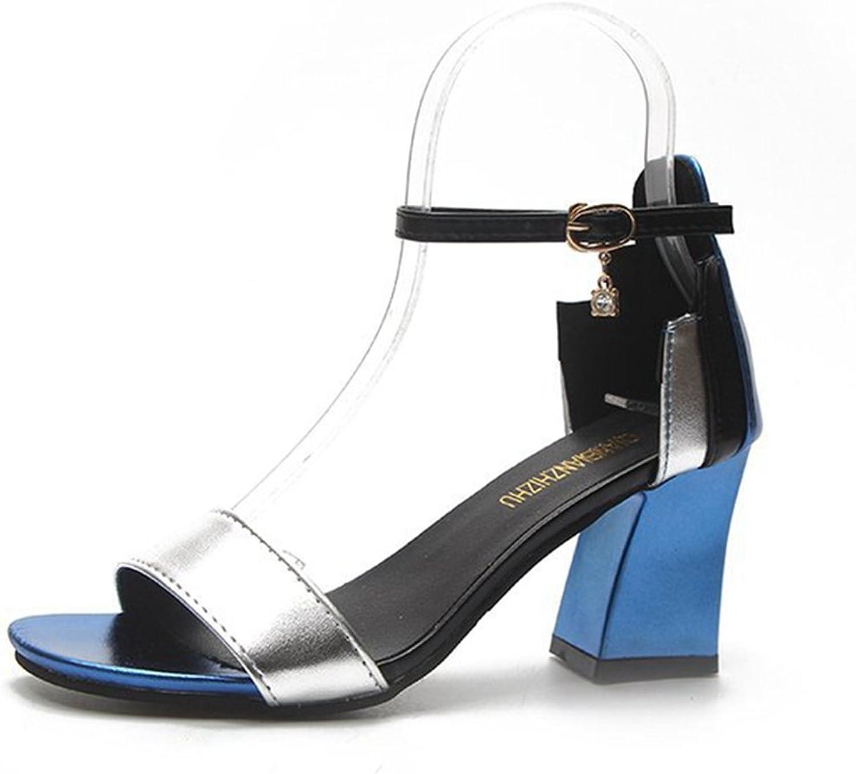 GIY Women's Block Heel Sandal Open Toe Ankle Strap Low Chunky Heeled Pump Dress Sandals