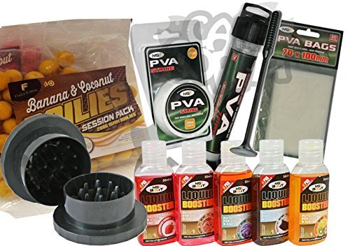 Carp Fishing Tackle Set With PVA Tube Bags Liquids Boilies + Bait Grinder NGT