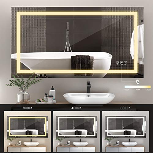 51RdszPD2+L - ANTEN 40x24 Inch LED Bathroom Mirror, Horizontal/Vertical Anti-Fog Bathroom Mirrors for Wall, 3000-6000K Dimmable LED Lighted Vanity Mirror