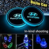2pcs LED Car Hyundai Logo Cup Holder Lights for Hyundai, 7 Colors Changing USB Charging Mat Luminescent Cup Pad, LED Interior Atmosphere Lamp Decoration Light. (Hyundai)