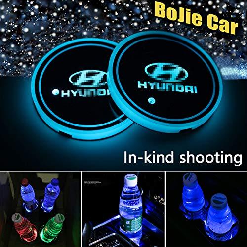 2pcs LED Car Hyundai Logo Cup Holder Lights for Hyundai, 7 Colors Changing USB Charging Mat Luminescent Cup Pad, LED Interior Atmosphere Lamp Decoration Light. (Hyundai)