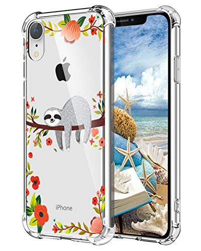 Hepix Sloth iPhone XR Case Clear Xr Cases, Cute Grey Sloth Hanging on Tree Pattern Protective Slim Flexible Soft TPU Xr Phone Cases with Reinforced Bumpers Anti-Scratch for iPhone XR (6.1') 2019