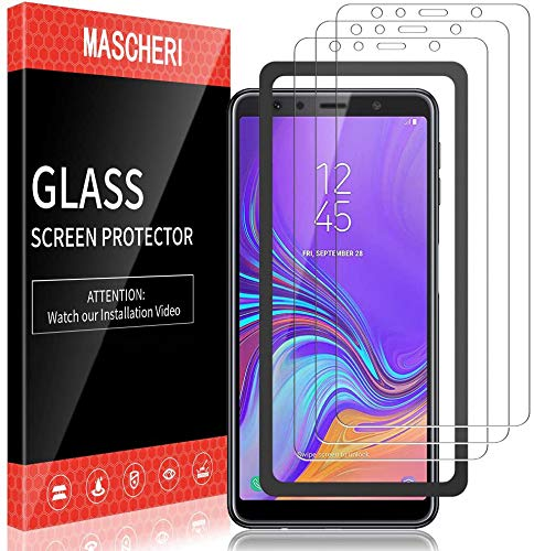 MASCHERI Schutzfolie für Samsung Galaxy A7 2018 Panzerglas, [3 Pack] [Ausgestattet mit einem Einbaurahmen] Bildschirmschutzfolie Panzerfolie Bildschirmschutz Panzerglasfolie Glas Folie
