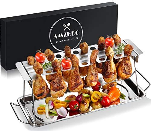 AMZBBQ® Premium Hähnchenschenkelhalter für Backofen & Grill, Hähnchenbräter aus Edelstahl, Hähnchenhalter für 12 Keulen, Hähnchenkeulenhalter mit Auffangschale, Grillzubehör für Männer Geschenk