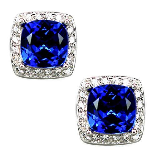 QIN Pendientes Cuadrados de Lujo Azul de Zafiro Azul de Lujo aretes de Boda de Oro Rosa Retro Pendientes de Espiral de Cristal para Mujeres