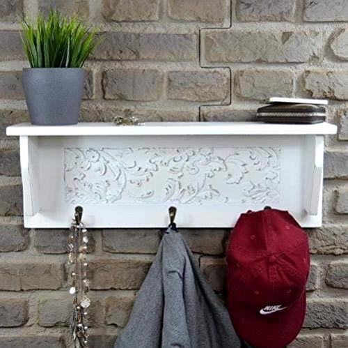 Livitat® Wandgarderobe ROMANTIK Flurgarderobe Garderobe Hakenleiste Weiß Landhaus LV6015 (B60 x H21 XT14 cm)