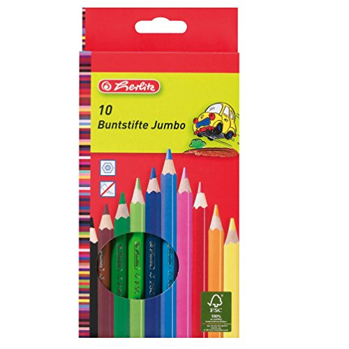 Herlitz 10 Jumbo buntstifte, lackiert aus FSC Holz in Hängeschachtel, 10 Stück in Hängeschachtel, 10 Farben