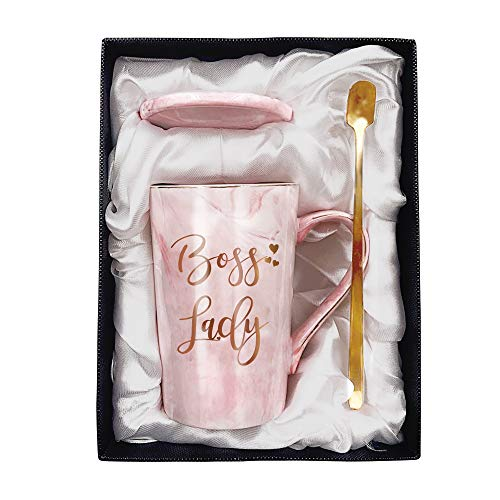 Tom Boy Boss Lady Mugs for Women Boss – Birthday Boss Day Gifts for Female Boss Friend and Mom Boss Ceramic Marble Coffee Mug Pink 11oz