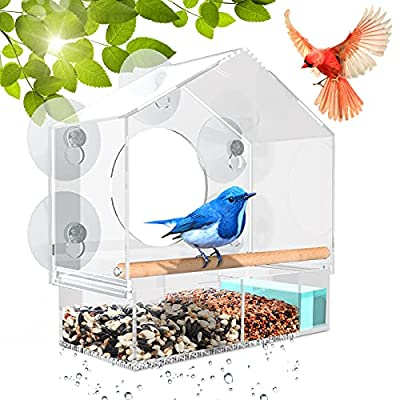 Window Bird Feeder for Outside - 5 Extra-Strong...