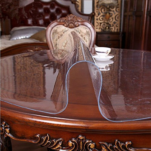 Mantel protector de MAGILONA Home de PVC impermeable de 1,5mm de grosor para mesa redonda, mesa de escritorio, con protección frente al calor, Algodón/PVC., transparente, 24 Inch(60cm)