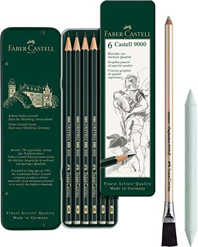 Faber-Castell 119063 Bleistift Castell 9000, 6-er Etui (Art Set)