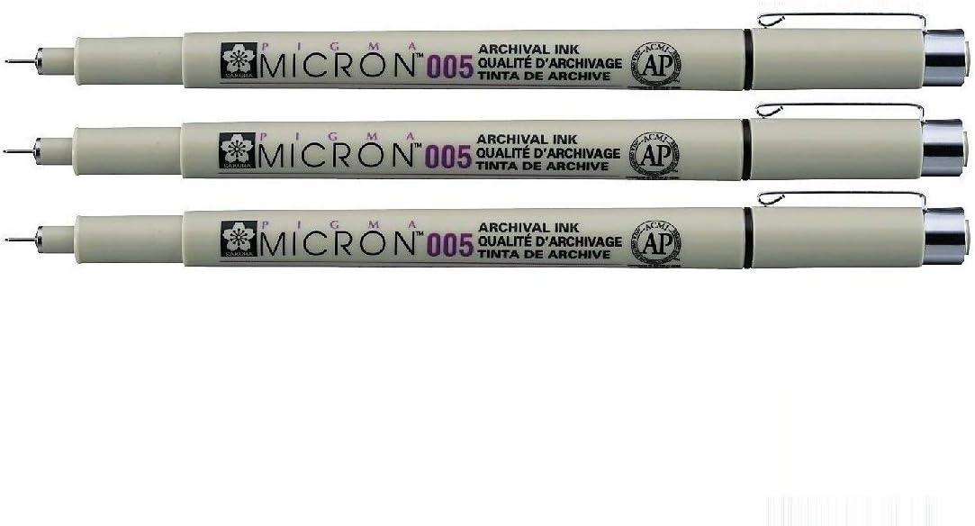 Sakura Pigma Micron - Pigmento fineliners - 0.05 mm), color negro 3 unidades