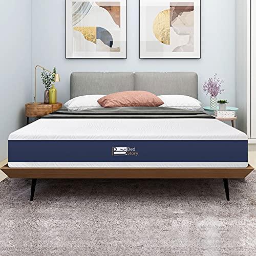Bedstory Materasso Singolo in Memory Foam con Gel e Carbone di Bambù infuso da 20 cm, 80x190cm, Rivestimento rimovibile e lavabile, Materasso con migliore freschezza, antiacaro e ipoallegenico