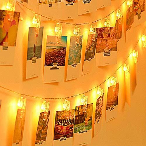 30 Led Fotoclips Lichterkette,LED Foto Lichterkette 3,2 Meter 30 led Lichterketten Batteriebetriebene Warmweiß Stimmungsbeleuchtung Dekoration für Hängende Bilder,Foto & Weihnachten,PartyDeko
