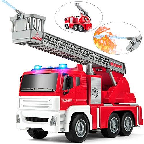 GizmoVine Coche Juguetes Camión de Bomberos,1:12 Camión de Suministro de Agua Educación Temprana Autos Juguete para Muchachas y Niño (851A)