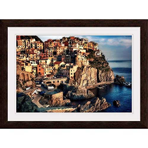 "GREATBIGCANVAS Sunset in Manarola, Cinque Terre, Italy Espresso Framed Wall Art Print, 36""x24""x.75"