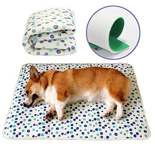 Rantow Kühlmatte für Hunde, maschinenwaschbar, wasserabweisend, rutschfest, faltbar, Hundezubehör, kein Einfrieren oder Kühlen, für Zwinger, Kisten, Betten