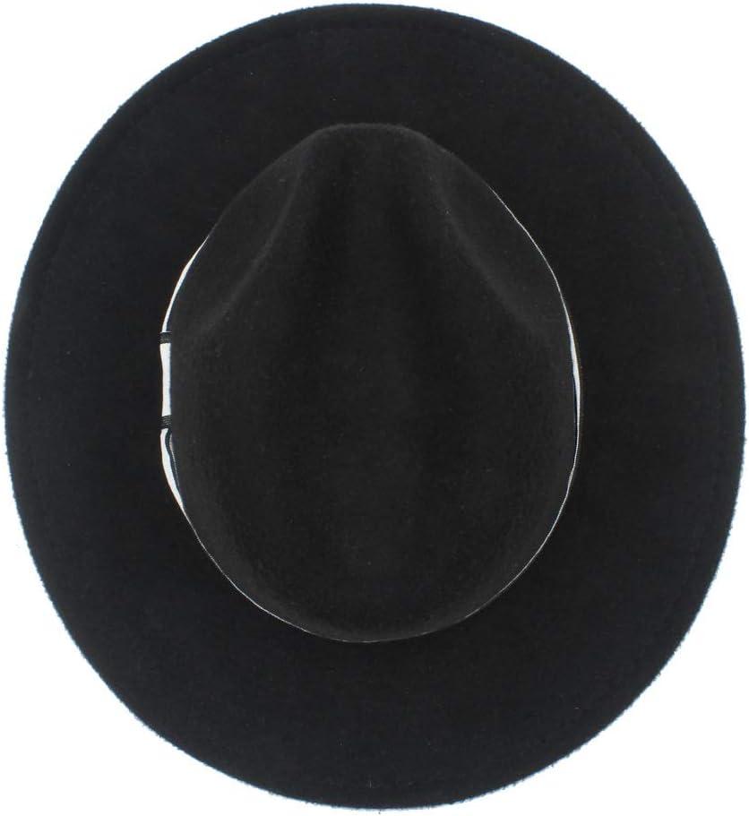 W.Z.H.H.H Fashion Hat Men Women Winter Fedora Hat with White Ribbon Panama Hat Wide Brim Church Fascinator Hat Size 56-58CM Outdoor Cap Color : Dark Gray, Size : 56-58