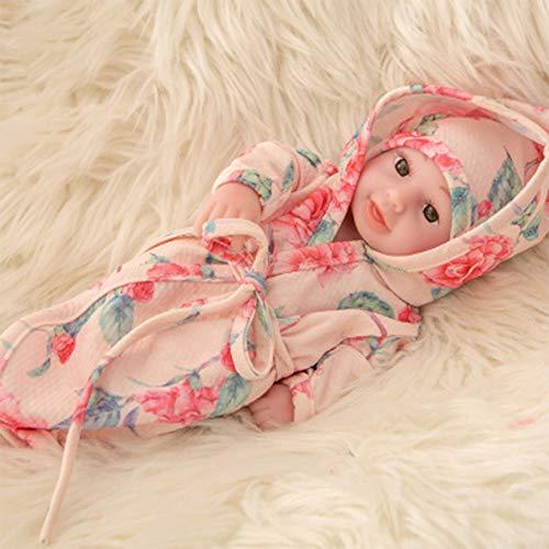 FR&RF 25Cm Reborn Bathe Doll 10.6 Pulgadas de Cuerpo Completo Silicona Simulación Baby Dolls Juguetes para bebés recién Nacidos para niñas Playmate Niño Cumpleaños, 18,Closed Eye Doll