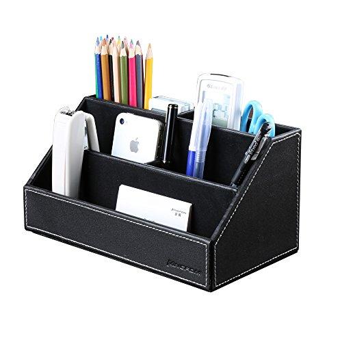KINGFOM™ Holzstruktur Leder Multifunktionale Schreibtisch Organisator (Schwarz)