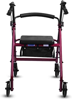 Elderly walker Aluminum Four-Wheeled Walking Trolley can be Pushed to sit Lightweight Folding Easy to Carry with handbrake Walking Assisted walker