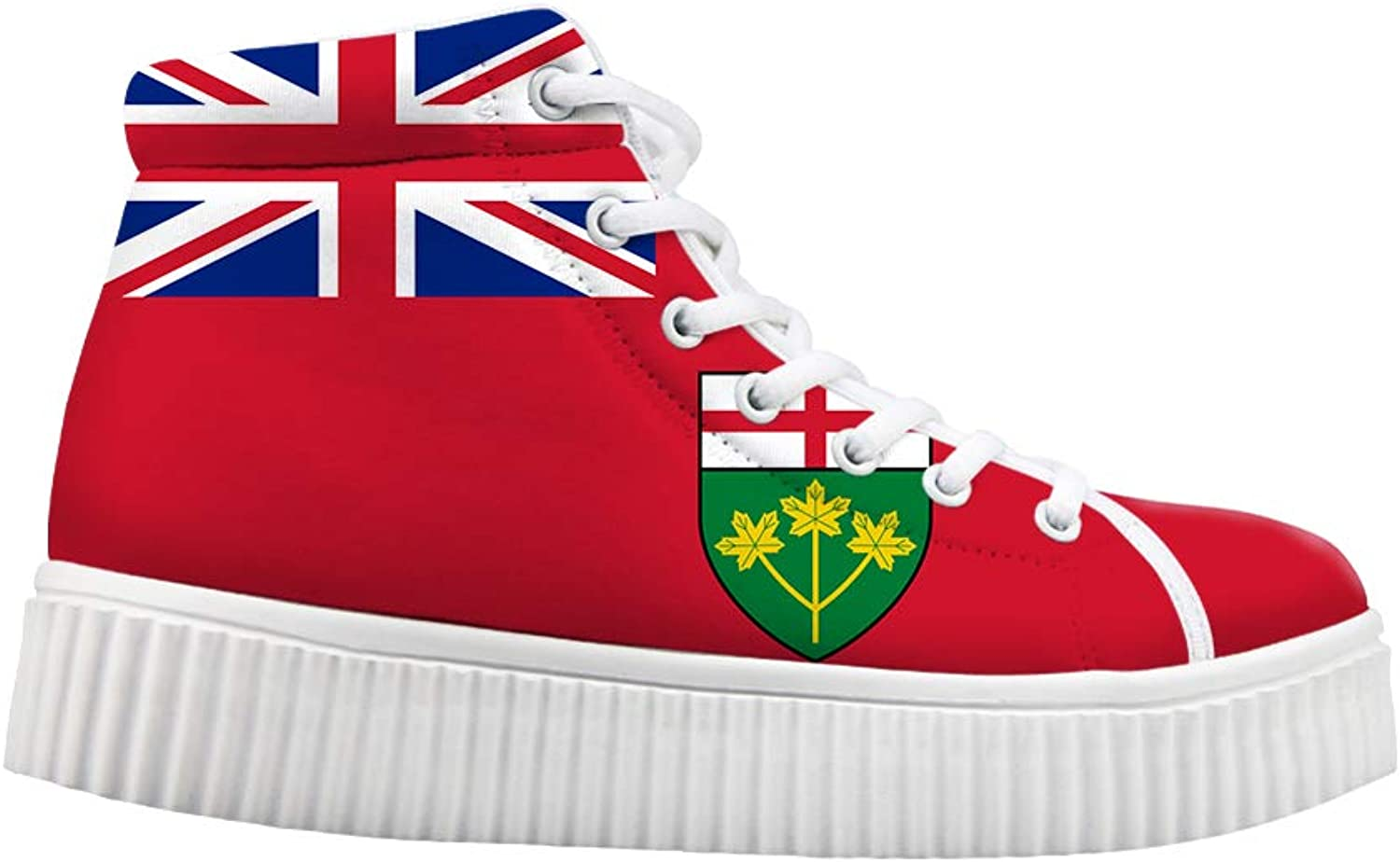 Owaheson Platform Lace up Sneaker Casual Chunky Walking shoes Women Ontario Flag