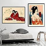 Impresiones de arte oriental vintage Cuadros de pintura Arte de pared Geisha japonesa con corte de gato Kimono Carteles de lienzo nórdico Decoración para el hogar 50x70cmx2 Sin marco