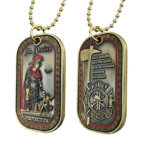 Saint Florian Firefighters Challenge Coin Fireman Prayer Dog Tags Pendant Necklace