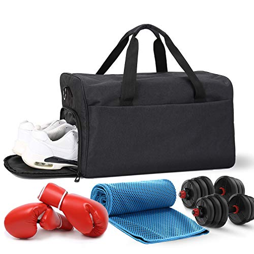 Sports Gym Bag for Men & Women Large Travel Duffle Bag with Shoes Compartment & Wet Pocket Waterproof Holdall for Swimming Yoga Training