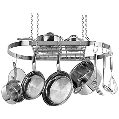 Range Kleen: Hanging Pot And Pan Rack Organizer - Oval; Stainless Steel Cw6001