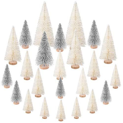Sapin de Noël Mini,Arbre de Noël Miniature Decoration 24 Pièces,Mini Arbre de Noël Artificiel Sisal Vert Blanc avec Bases en Bois Neige Givre pour Bricolage la Décoration de Maison de Fête de Noël
