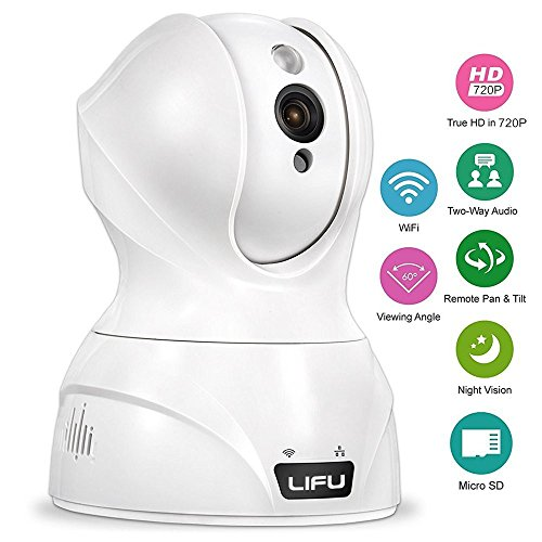 LiFu Wireless IP Camera, 1080 x 720P Home Security Surveillance HD Pan and Tilt WiFi Camera Built-In Microphone with Night Vision for Pet, Baby Video Monitoring