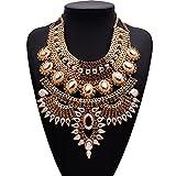 WANZPITS Collar De Babero De Estilo Étnico De Moda De Mujer, Collar De Cascada De Aleación Retro Bohemio Grande Collar Punk Tasel Collar Collar Collar,3