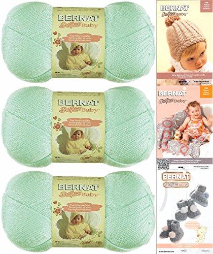 Bernat Softee Baby Yarn 3 Pack Bundle Includes 3 Patterns DK Light Worsted #3 (Mint)