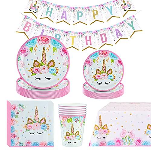 Amycute Unicorno Party Kit Compleanno, Set di Articoli per Feste Unicorno per Bambini Ragazze Festa di Compleanno Baby Shower Serve 16 Ospiti
