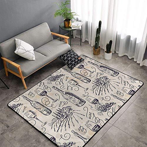 Alfombra de campo de uva y vino para bodega, 160 x 122 cm, para interior, hogar, alfombra antideslizante, para sala de estar, dormitorio, cocina, comedor, café