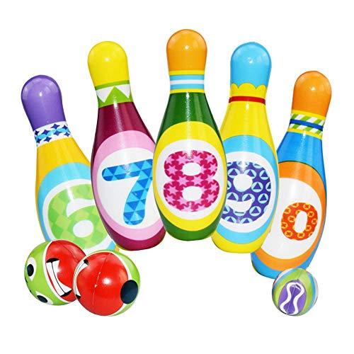 Currentiz Kinder Bowling Set Schaumstoff Outdoor Kegelspiel Für Kinder Bowling Ball Set Kleinkinder Lernspielzeug Mit 10 Kegel Und 2 Bälle In Netzbeutel Drinnen Für Baby Mädchen Jungen