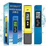SCOBUTY Probador De Calidad del Agua, Probador De Agua TDS Digital, Medidor de pH Digital, Probador de Calidad del Agua 3 en 1, Medidor de Prueba de Agua Ideal para Beber en casa, Piscinas y acuarios